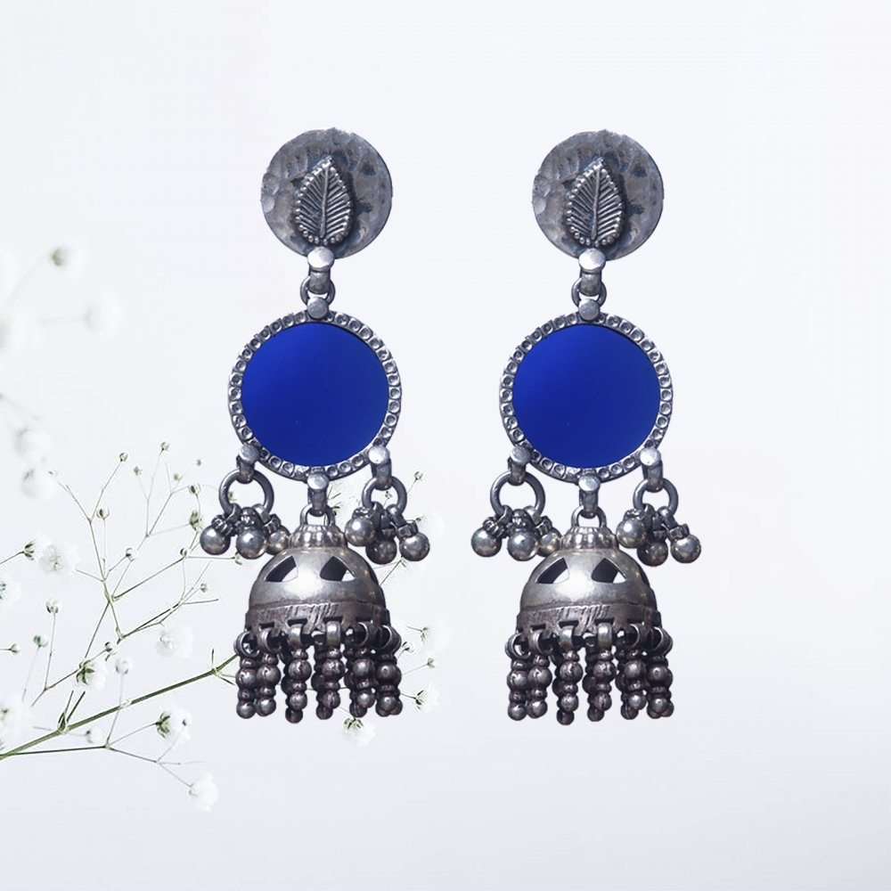 Blue Glass Silver Jhumkis