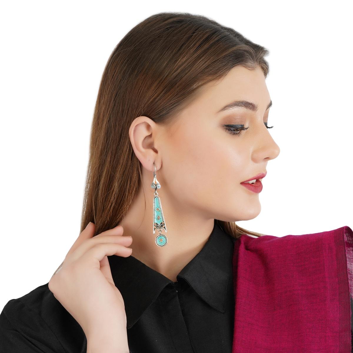 Blue Orange Enameled Silver Earrings