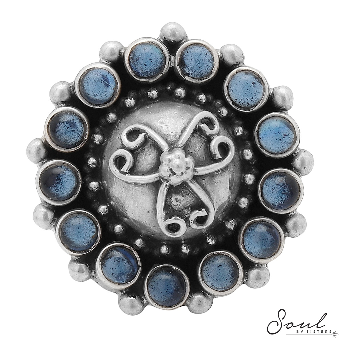 Blue Stone Silver Adjustable Ring