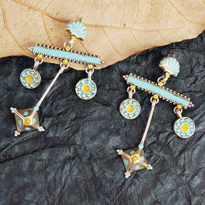 Blue & Yellow Enameled Earrings
