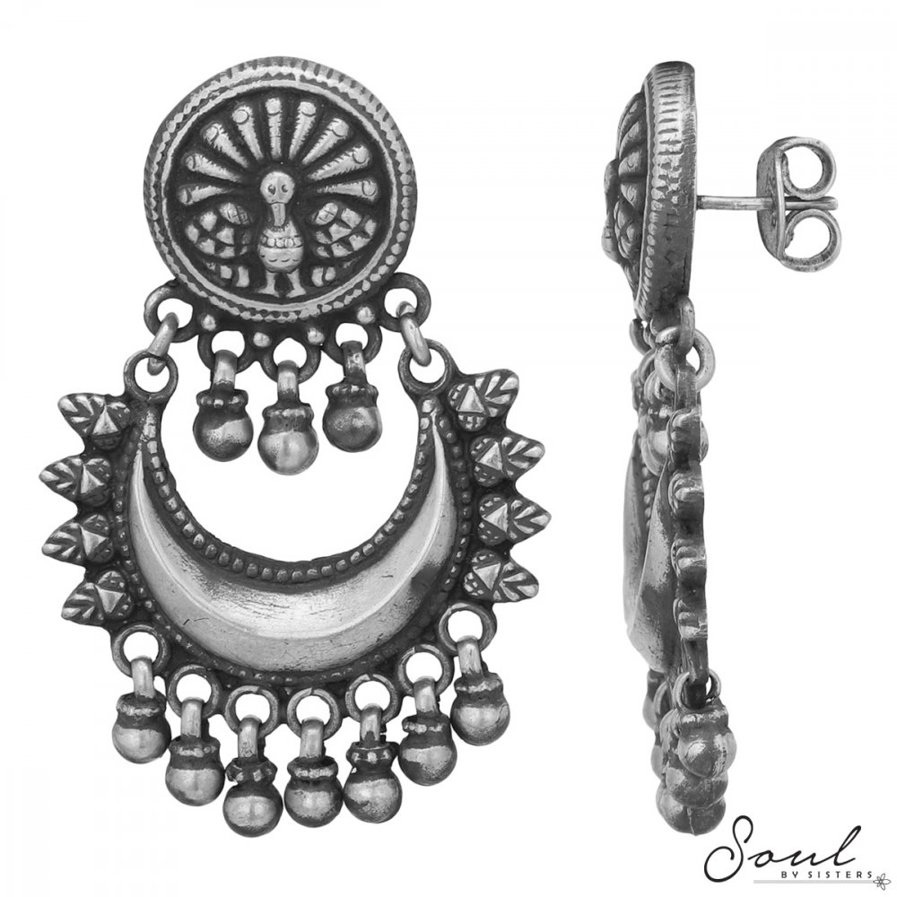 Chaand Baalis with Peacock Studs