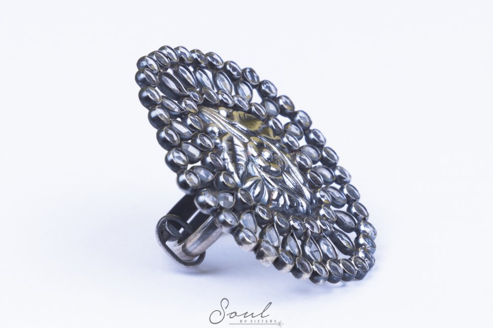 Crystal Ring in Oxidised Silver
