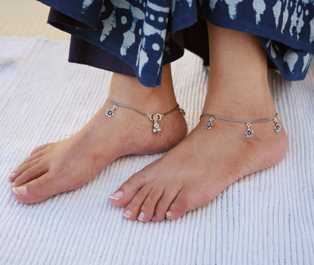 Tribal Silver Anklets