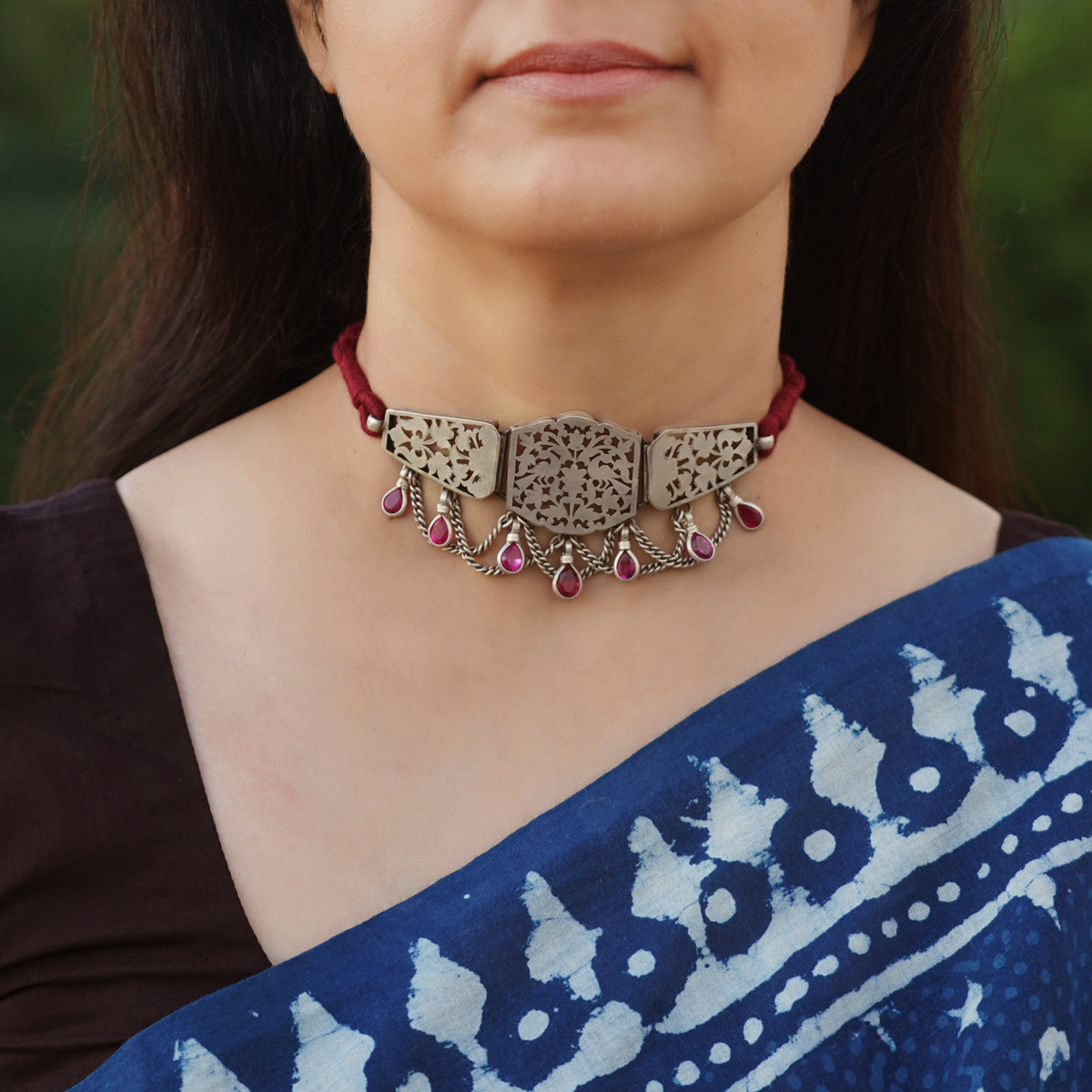 Silver Jaali Necklace