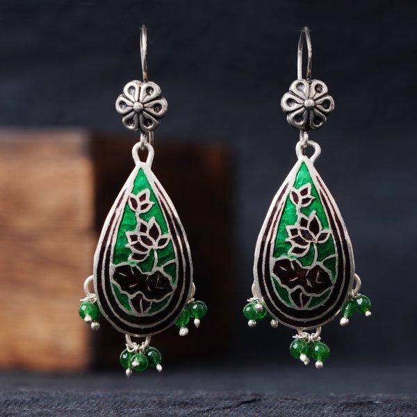 Meenakari Silver Earrings