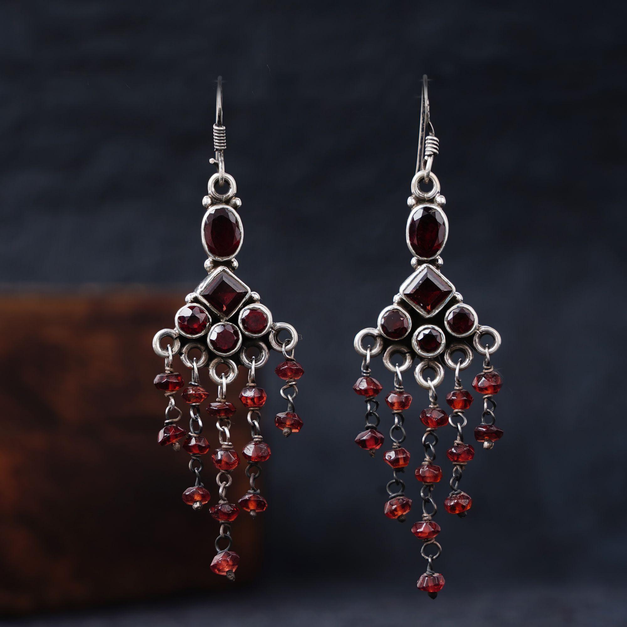 Garnet Silver Earrings