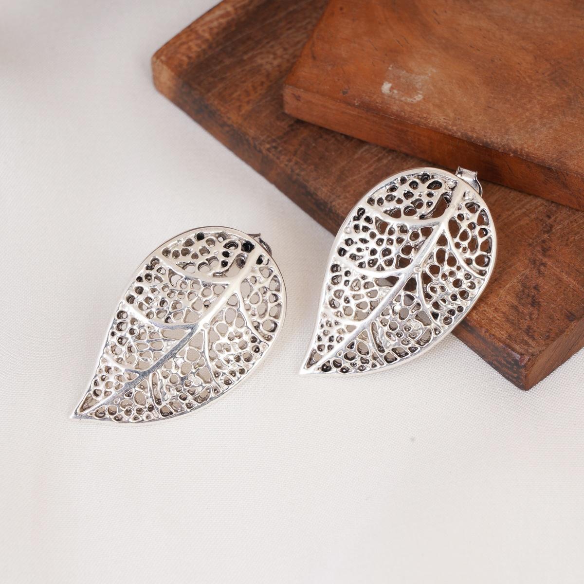 Filigree Silver Leaf Earrings