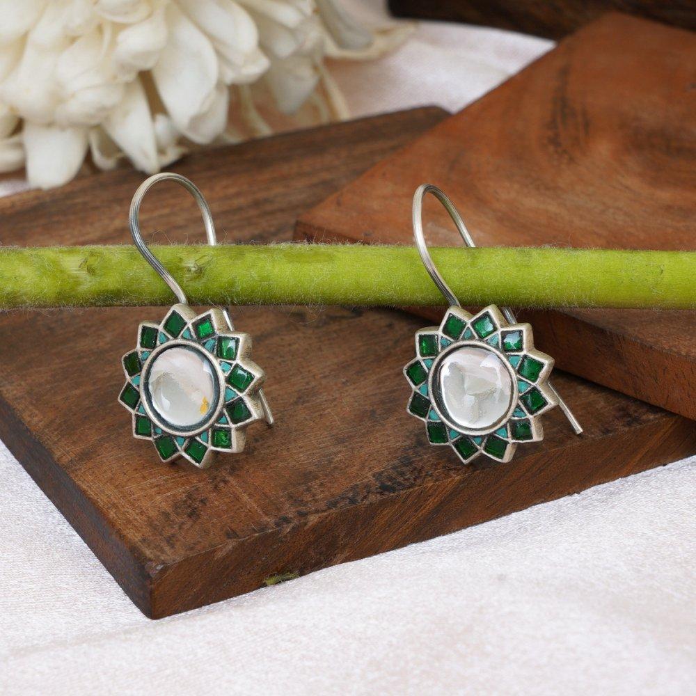 Green Jadau Silver Earrings