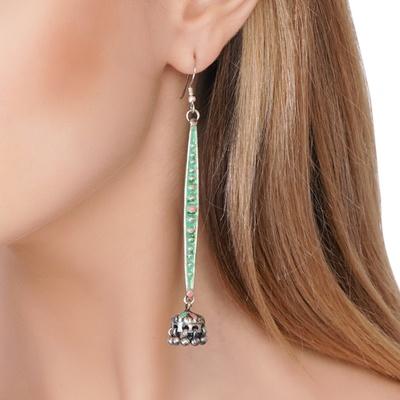 Green & Pink Enameled Earrings