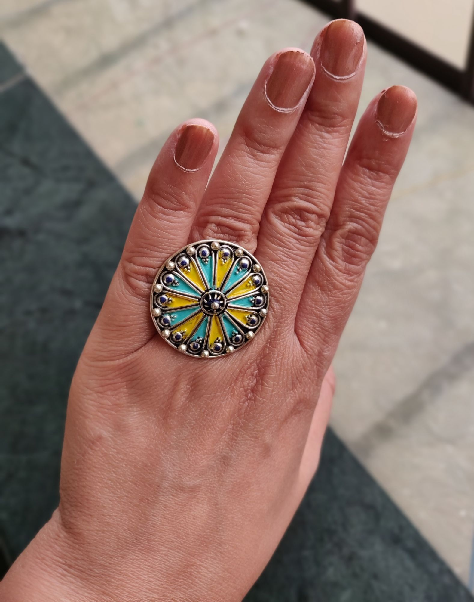Green Yellow Enameled Silver Ring