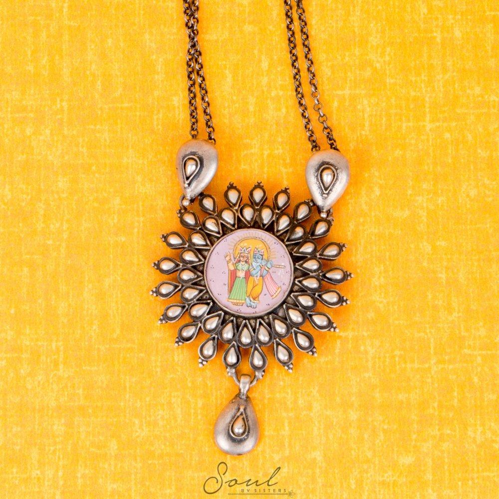 Handpainted Radha Krishna Pendant
