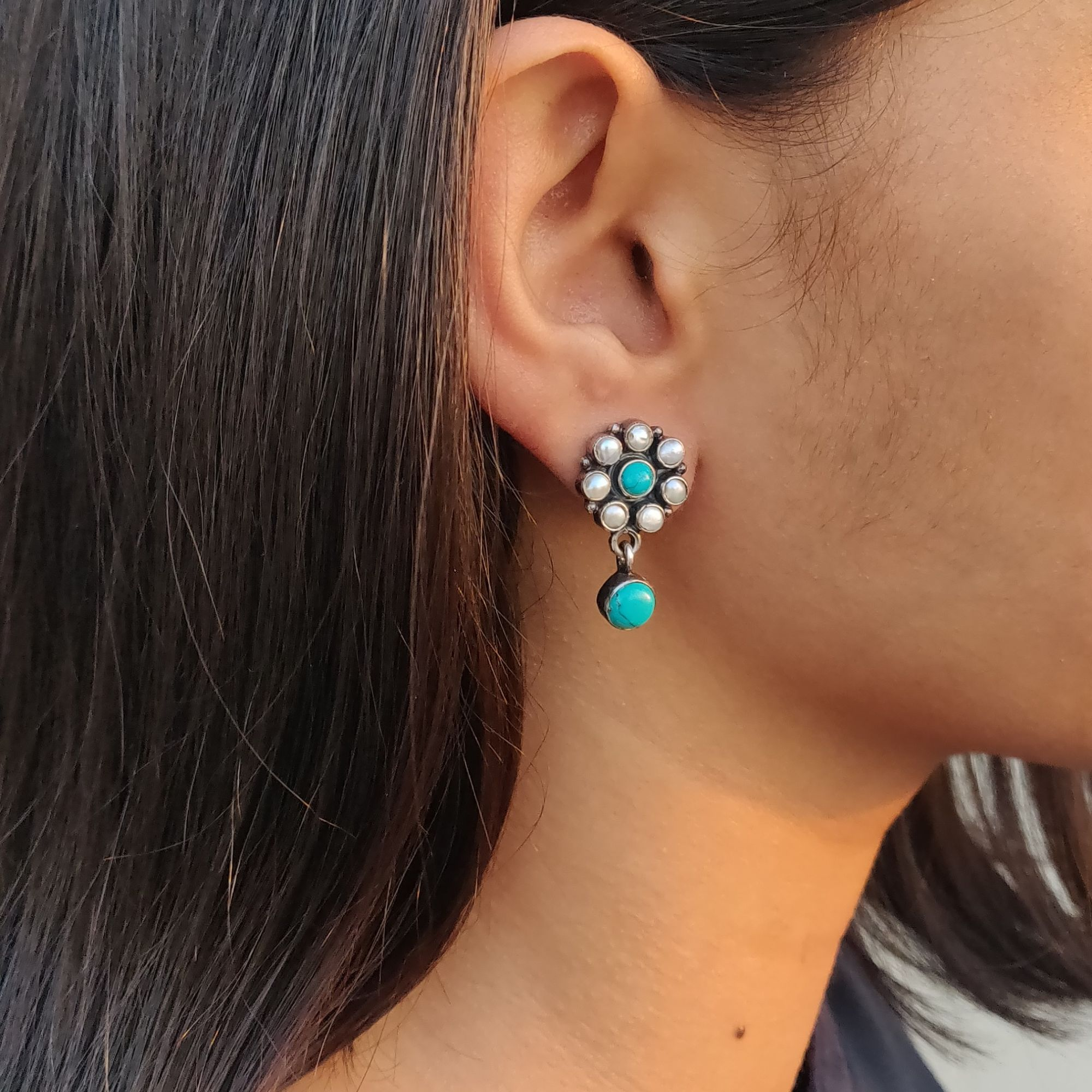 Pearl & Turquoise Studs