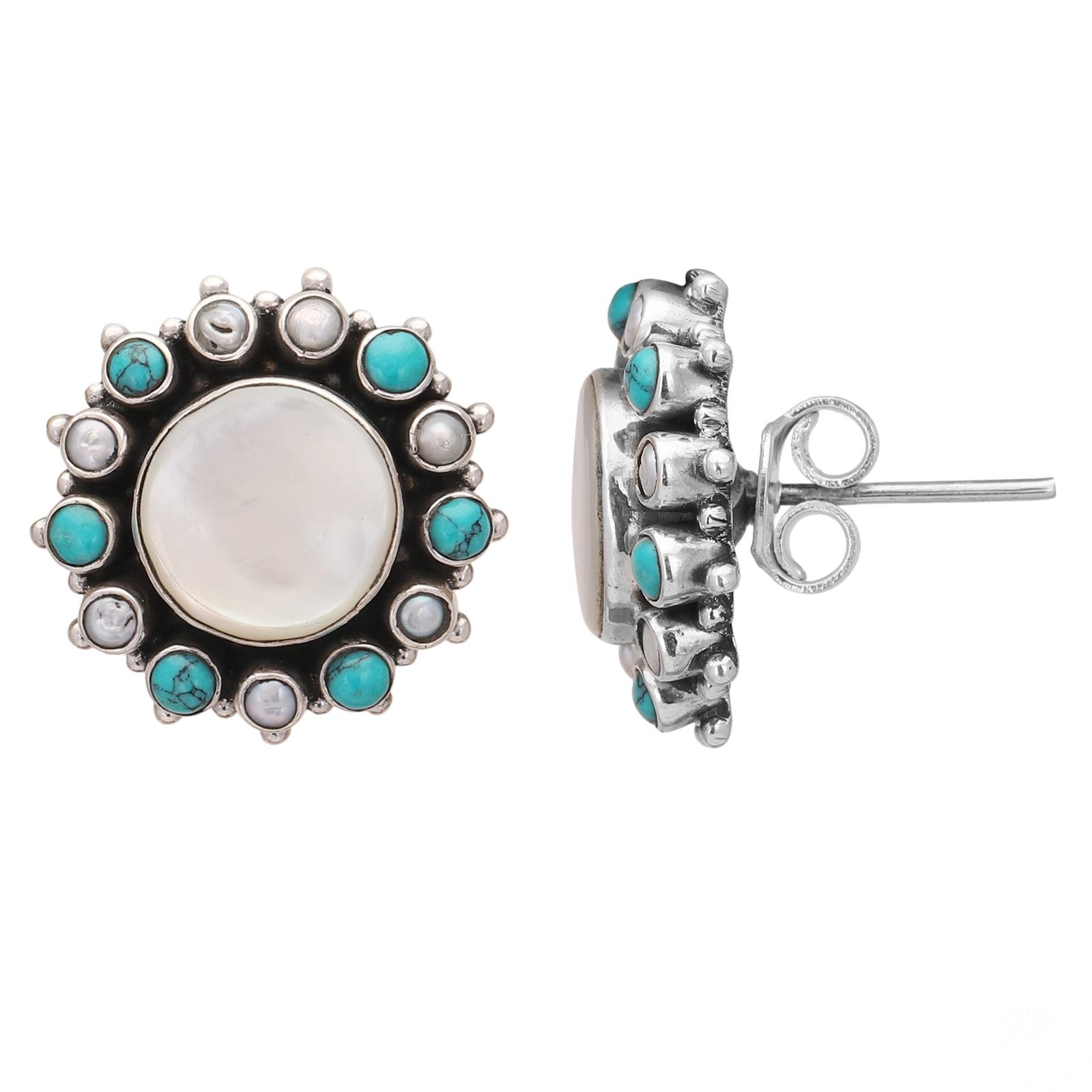 Mother of Pearl Sterling Silver Stud Earrings