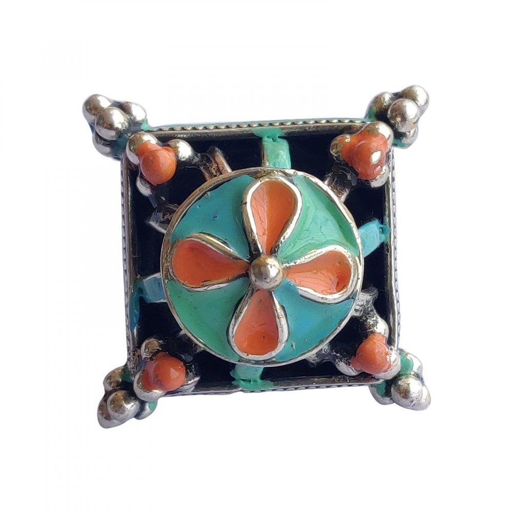 Orange Green Enameled Silver Ring