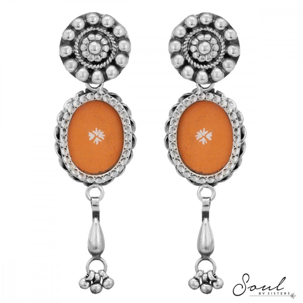Orange Handpainted Long Earrings