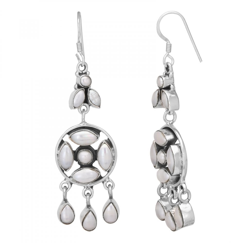 Pearl Silver Danglers