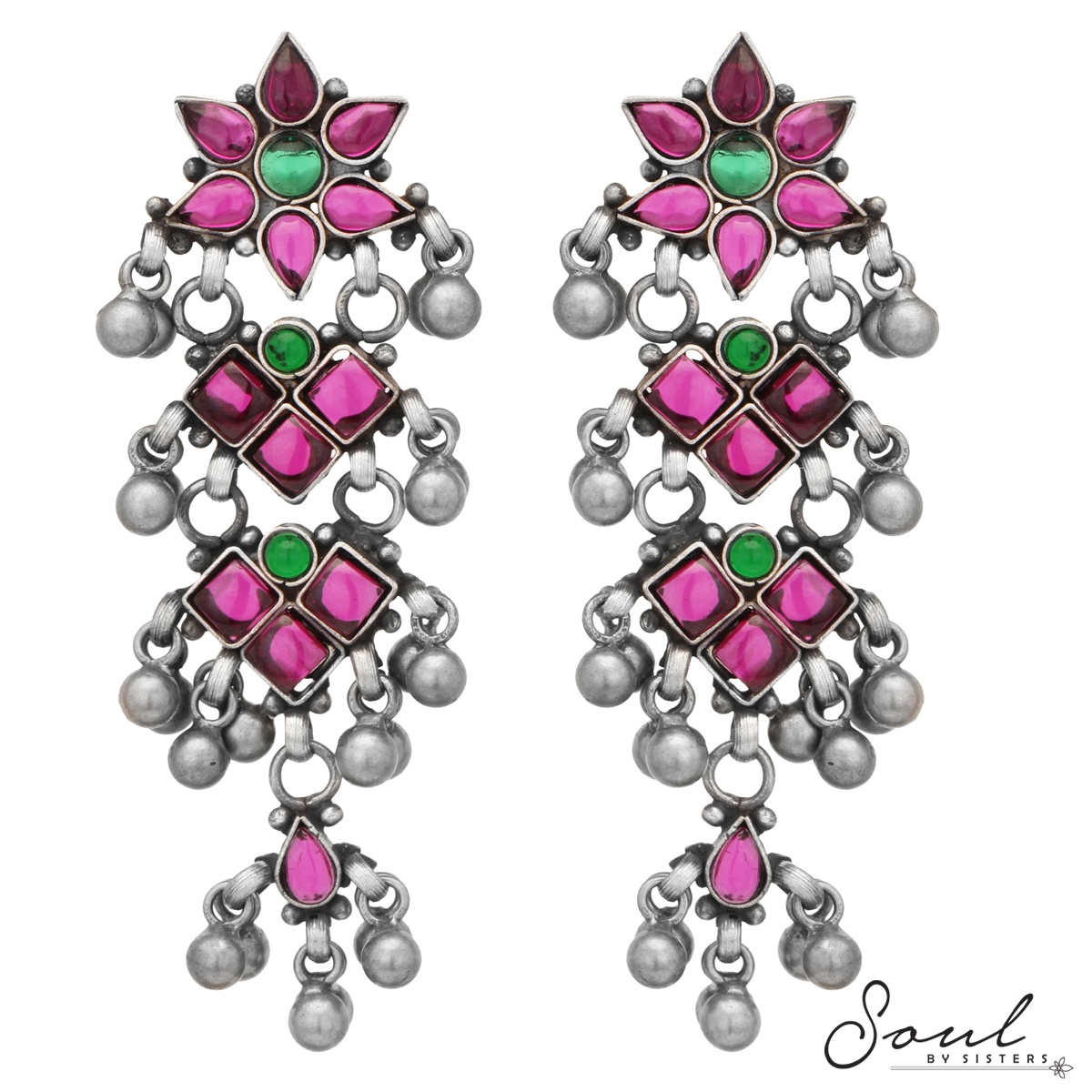 Red Gemstone Temple Earrings