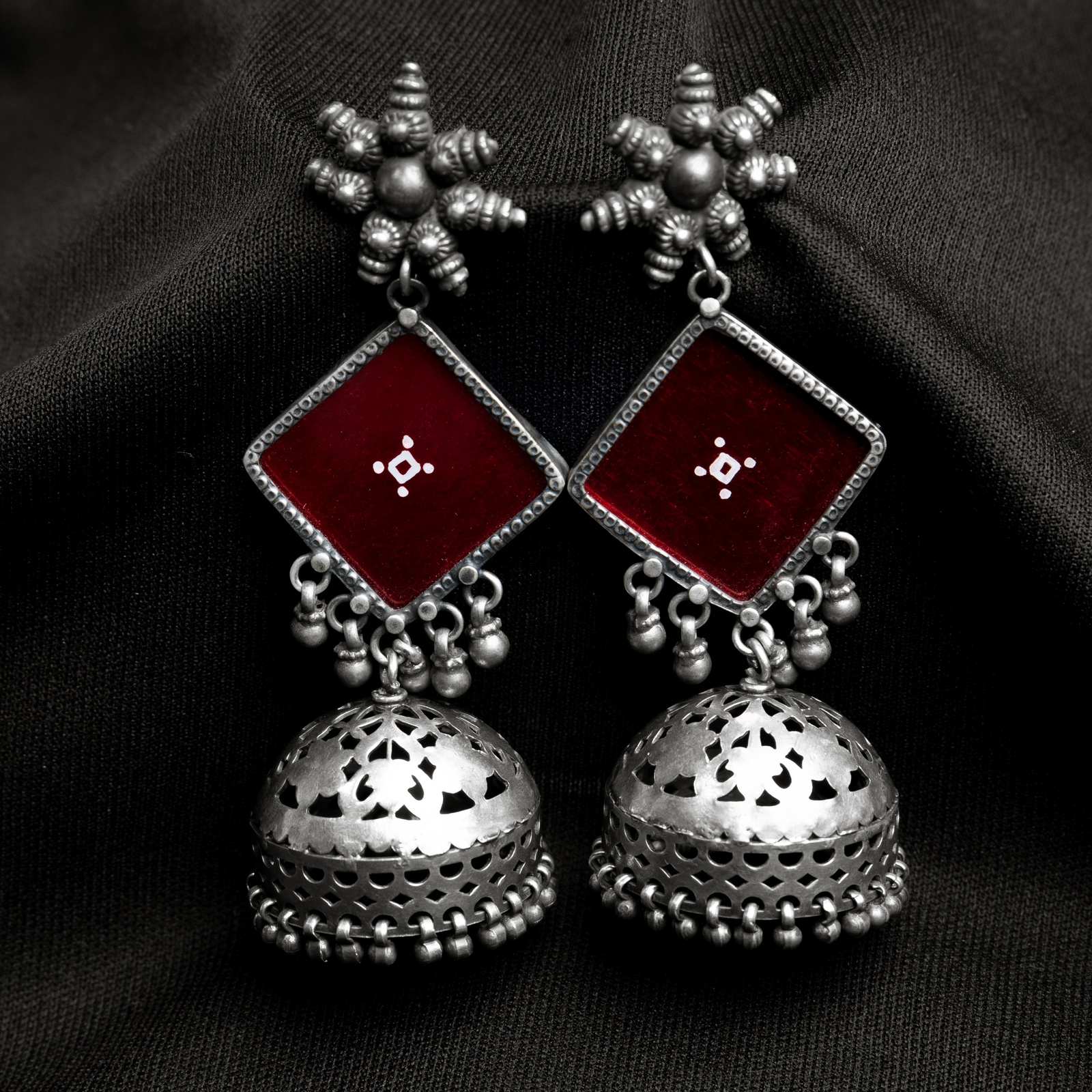 Red Glass Silver Jhumkis