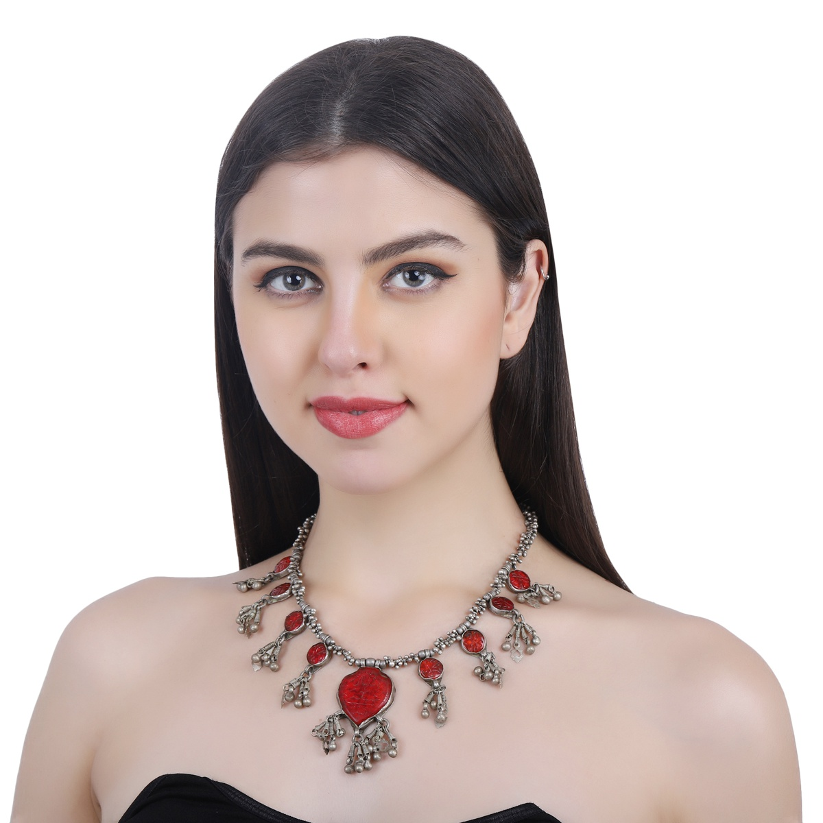 Red Handcarved Glass Tribal Necklace