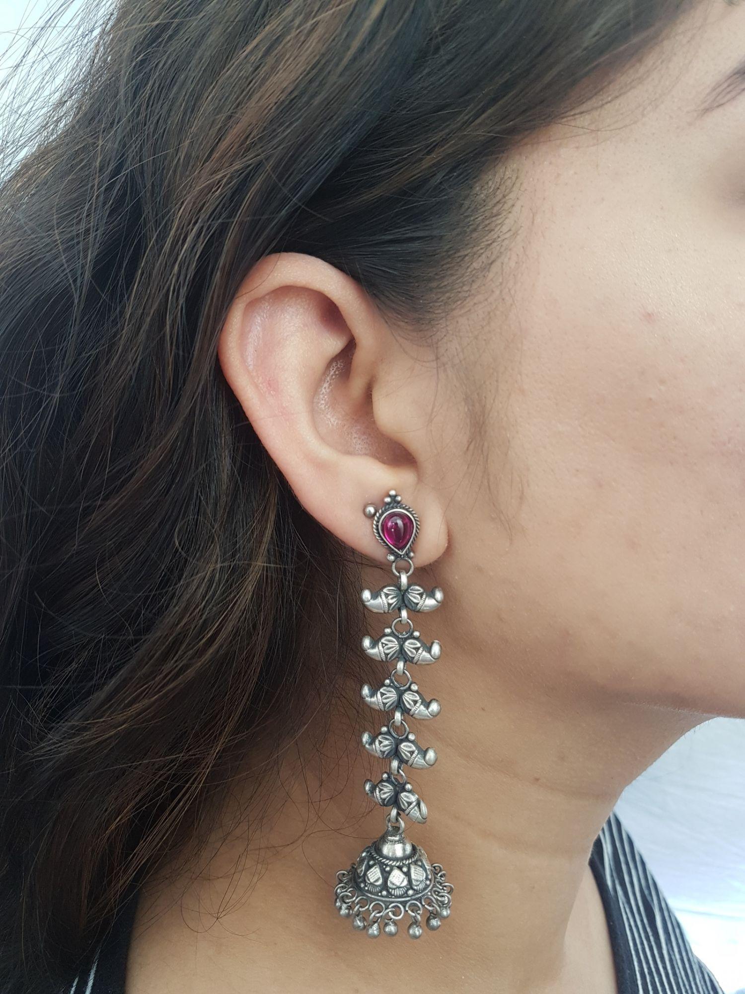 Red Stud Long Earrings