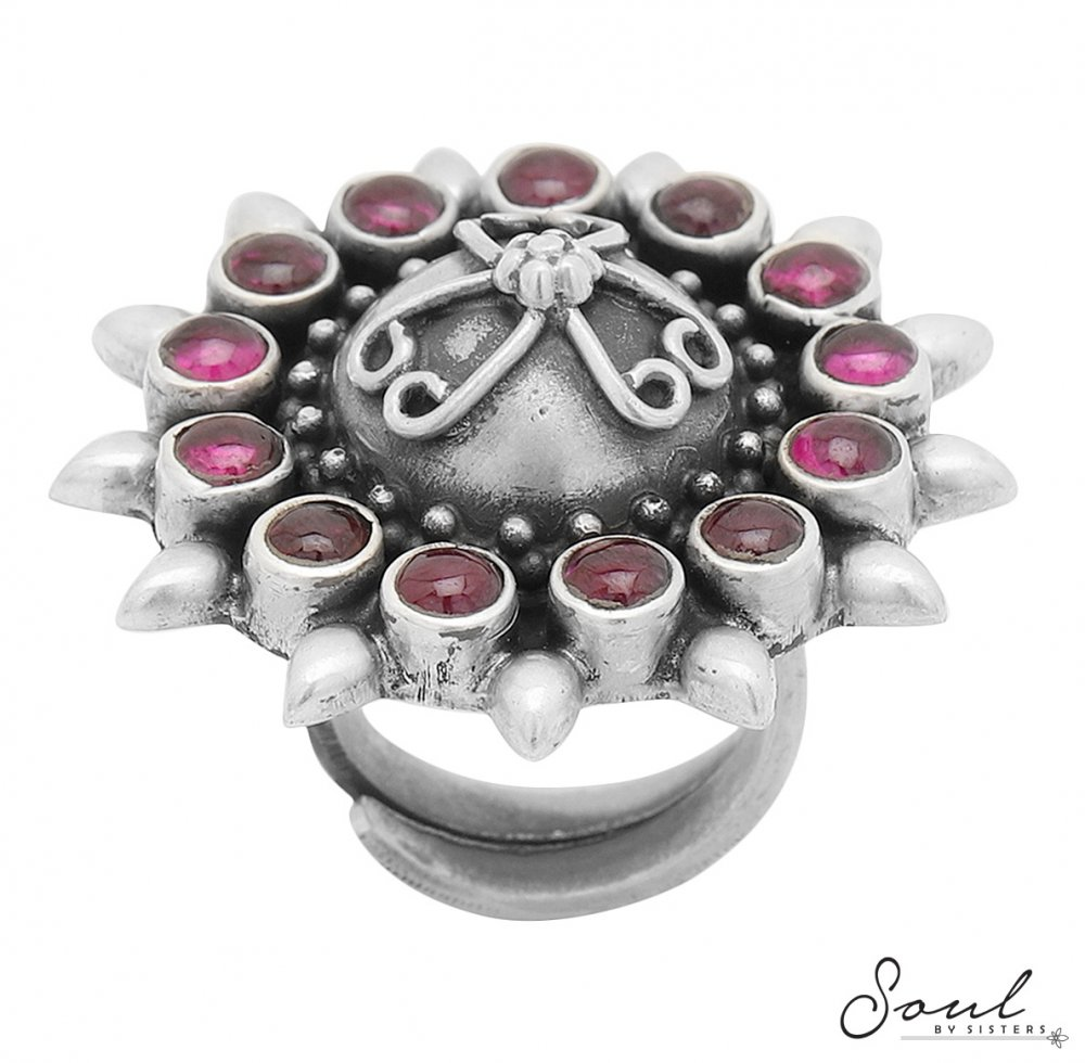 Ruby Flower Silver Adjustable Ring