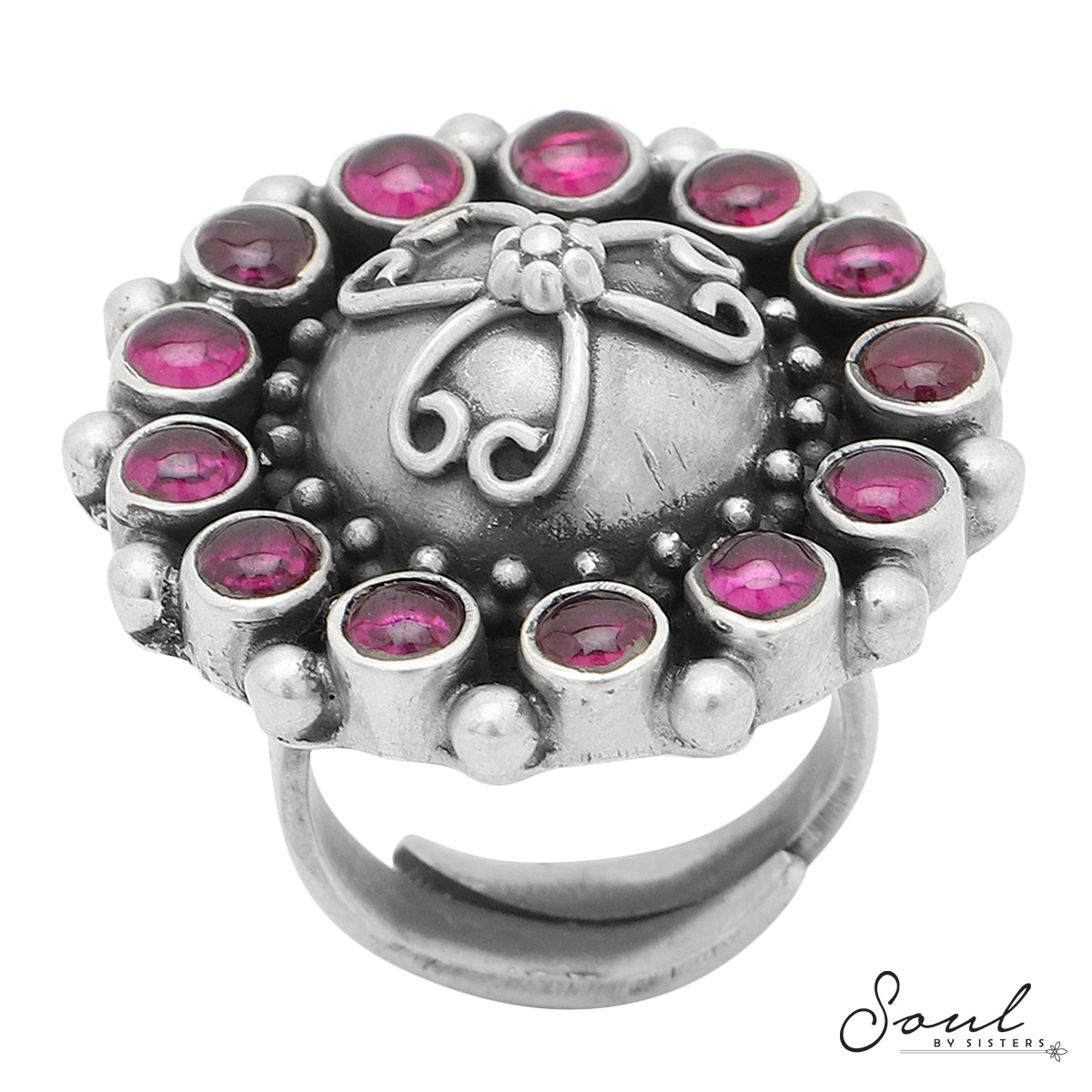 Ruby Silver Adjustable Ring