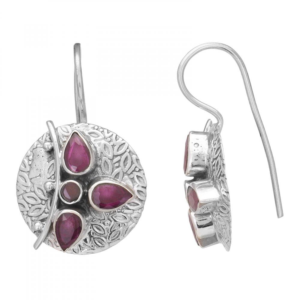 Ruby Sterling Silver Hook Earrings