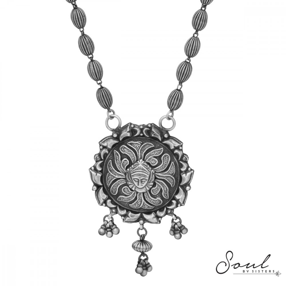 Silver Beads with Devi Pendant