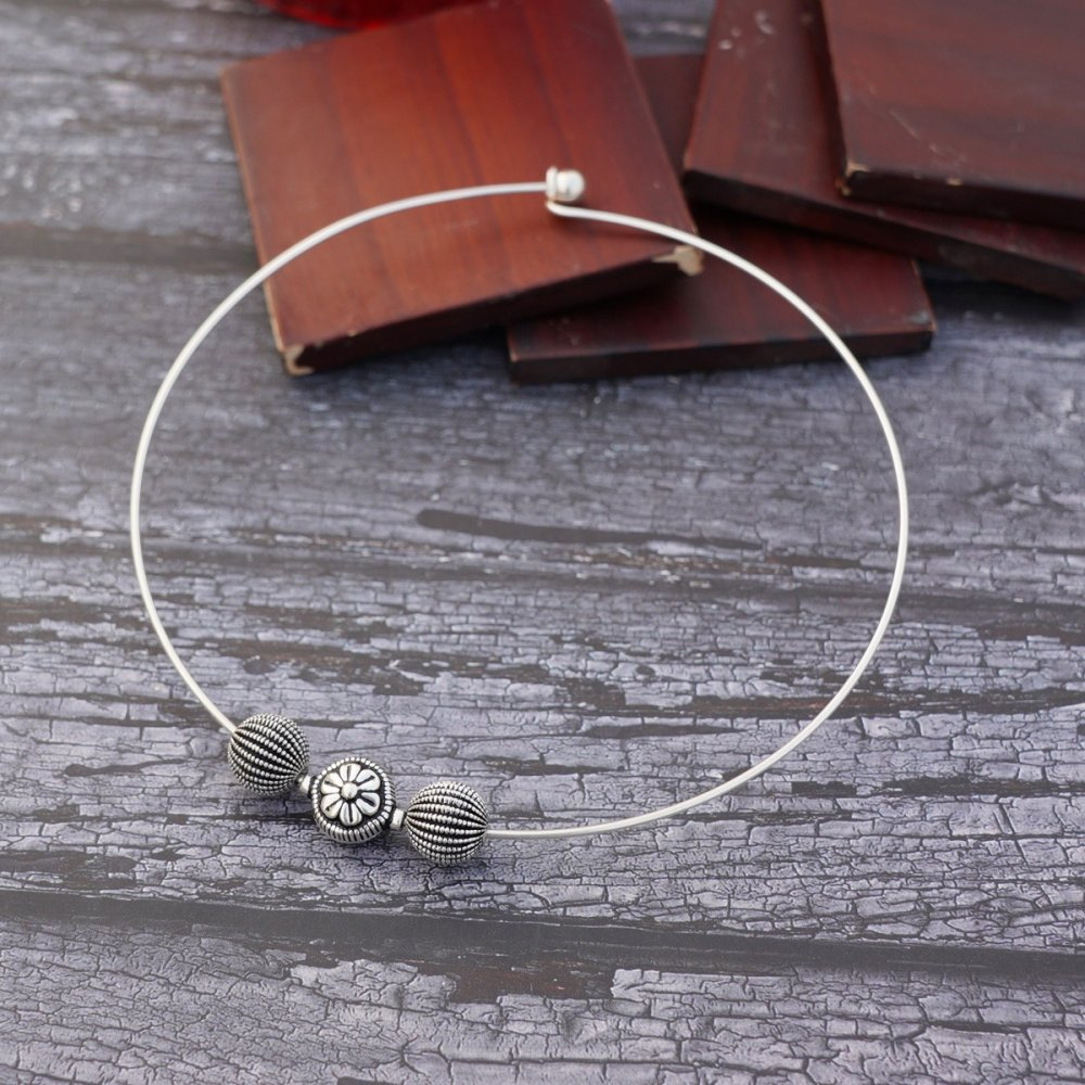 Silver Beads with Wire Hasli
