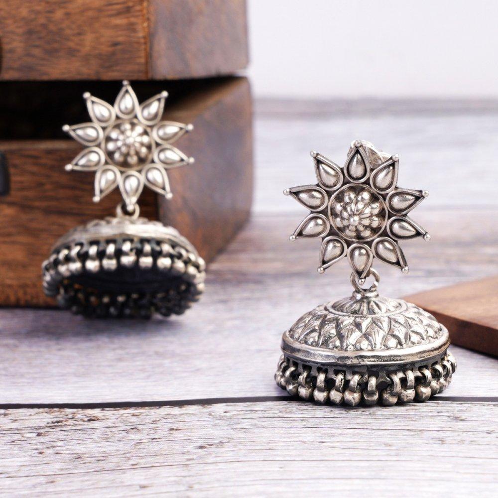 Silver Flower Stud Jhumkis