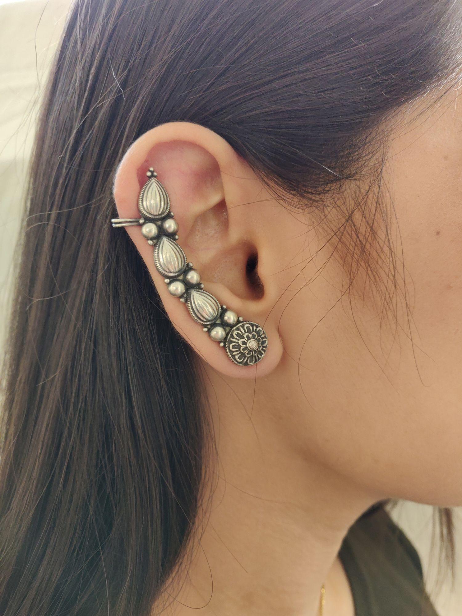 Silver Paisley Ear cuffs