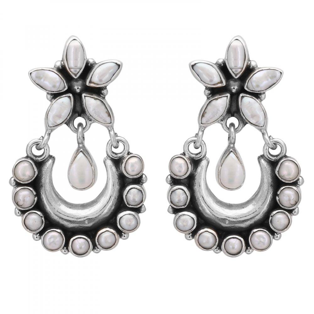Silver Pearl Crescent Drops Earrings