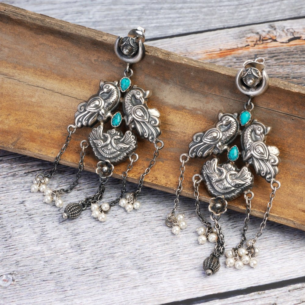 Silver Turquoise Pearcock Earrings