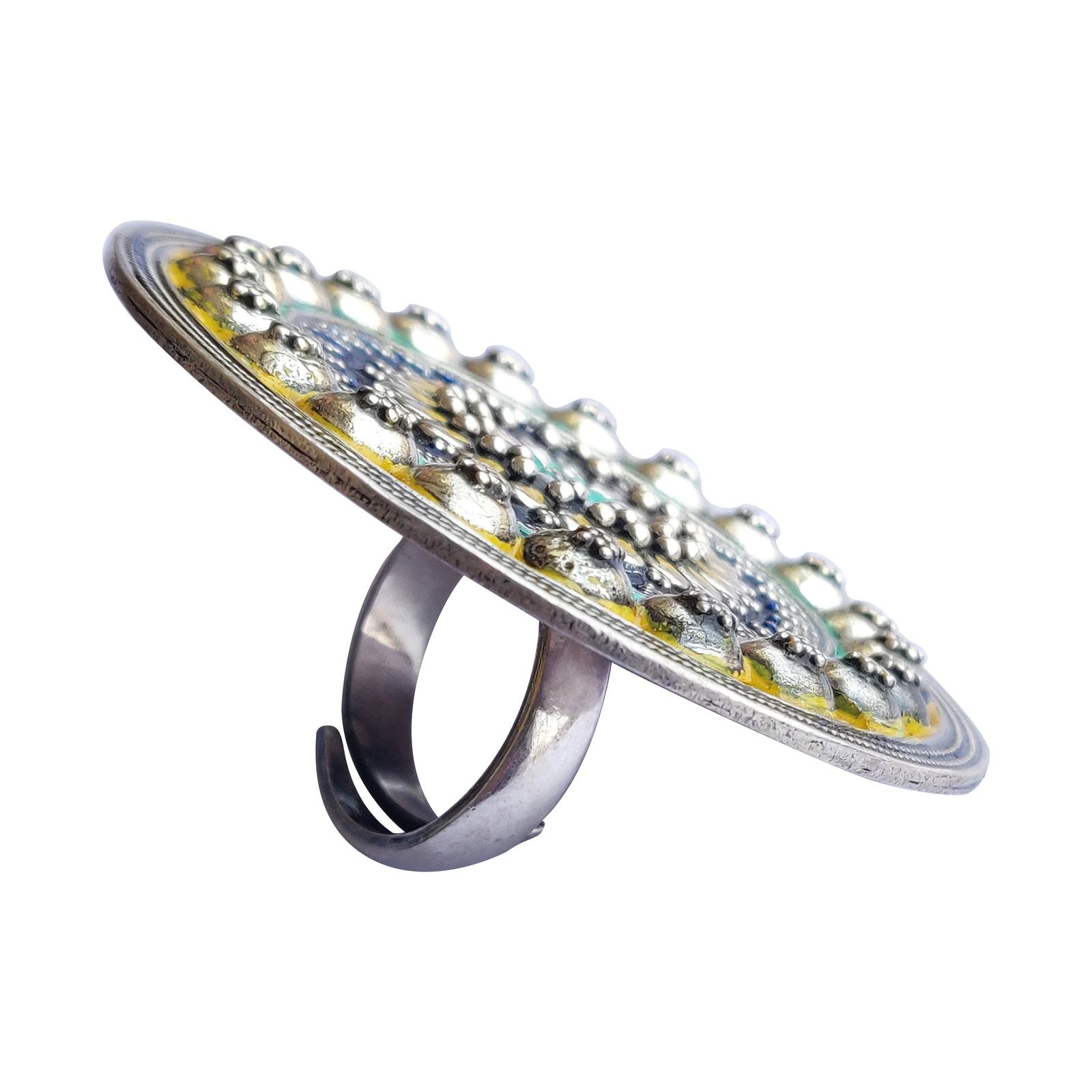 Sunflower Enameled Silver Ring