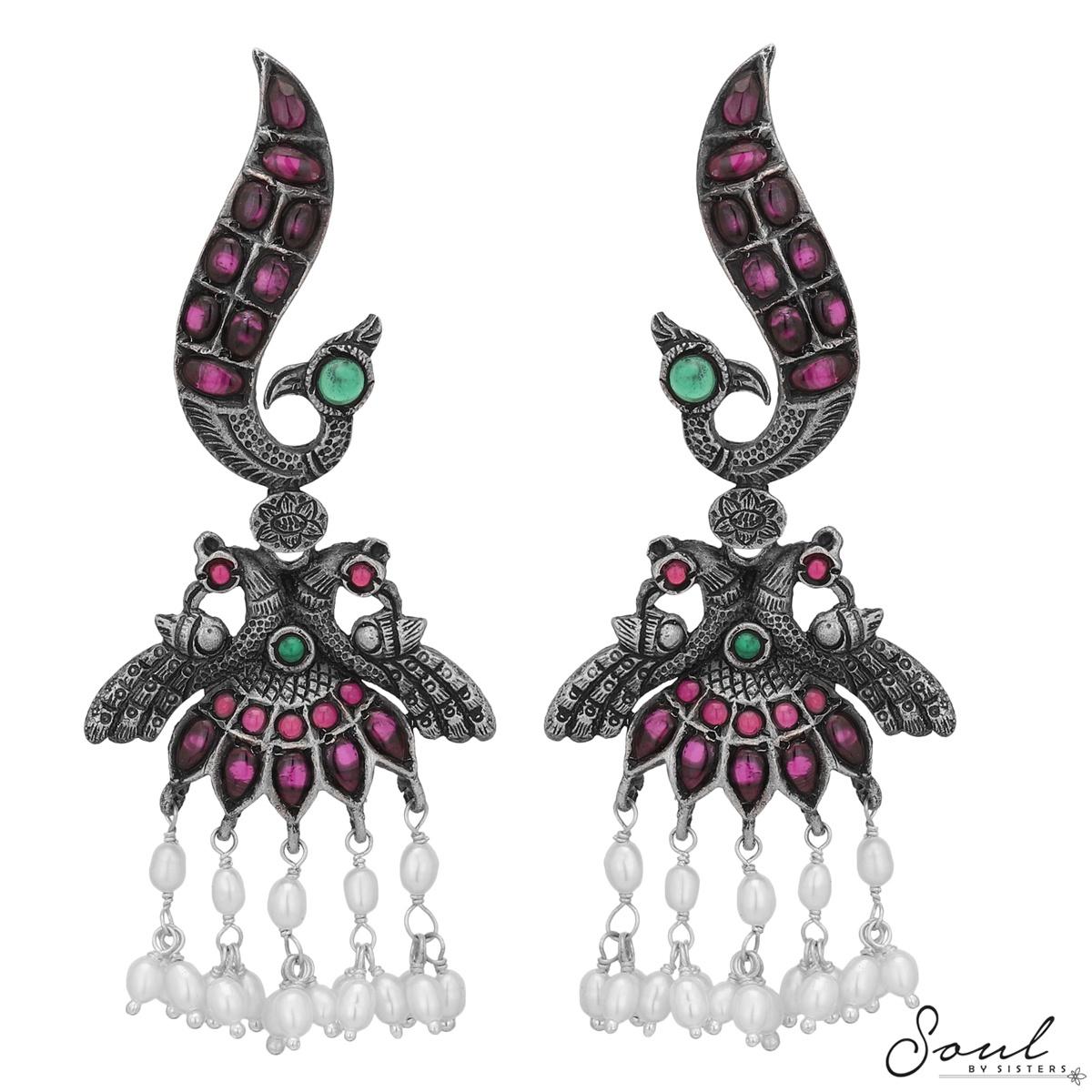 Temple Peacock Earrings