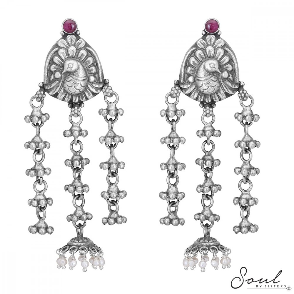 Temple Peacock Studs with Hangings