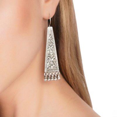 Tribal Long Silver Earrings