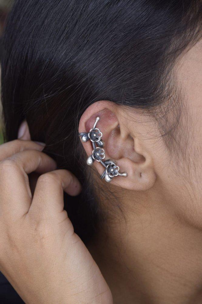 Tribal Silver Bugadi Clip On Ear Cuff