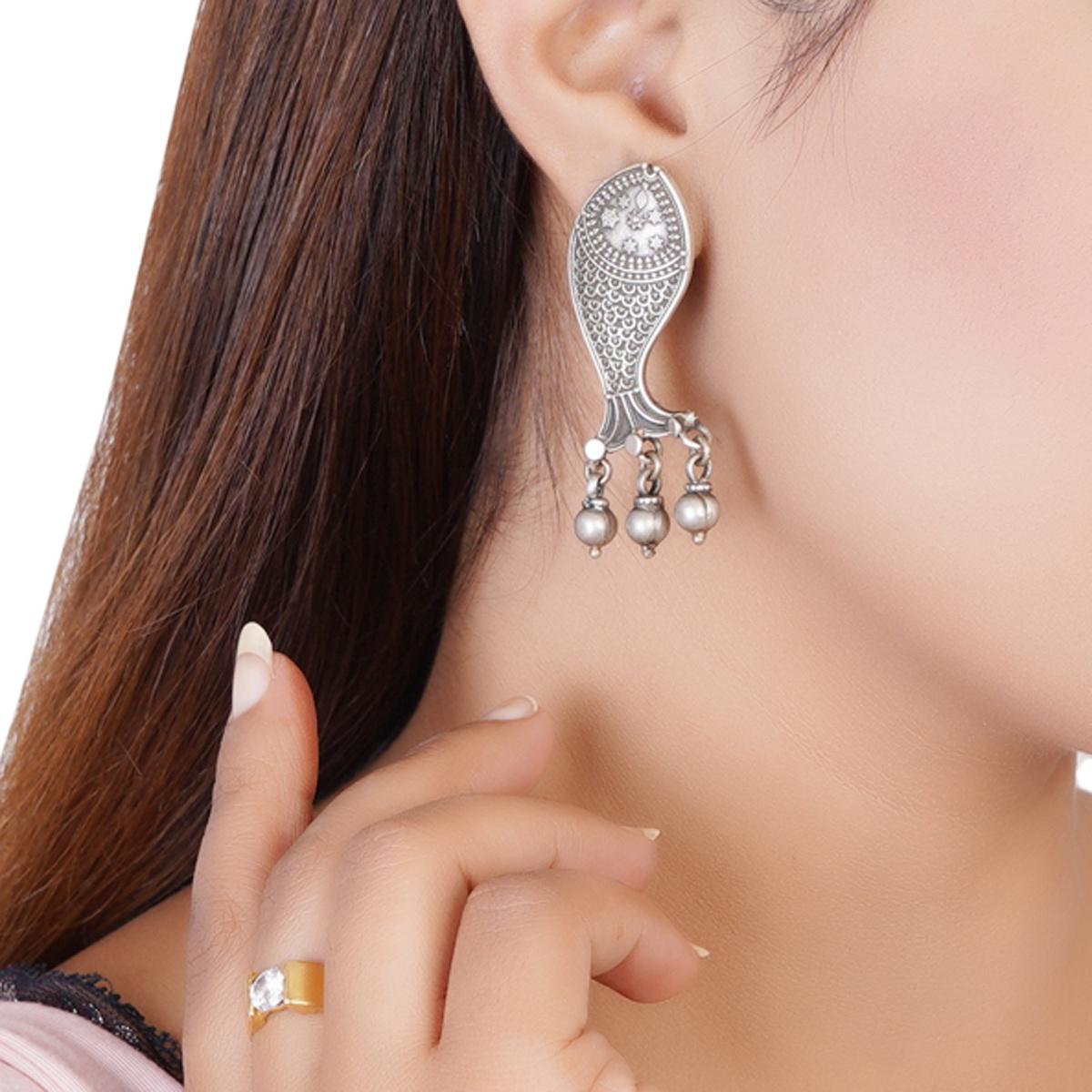 Tribal Silver Fish Earrings
