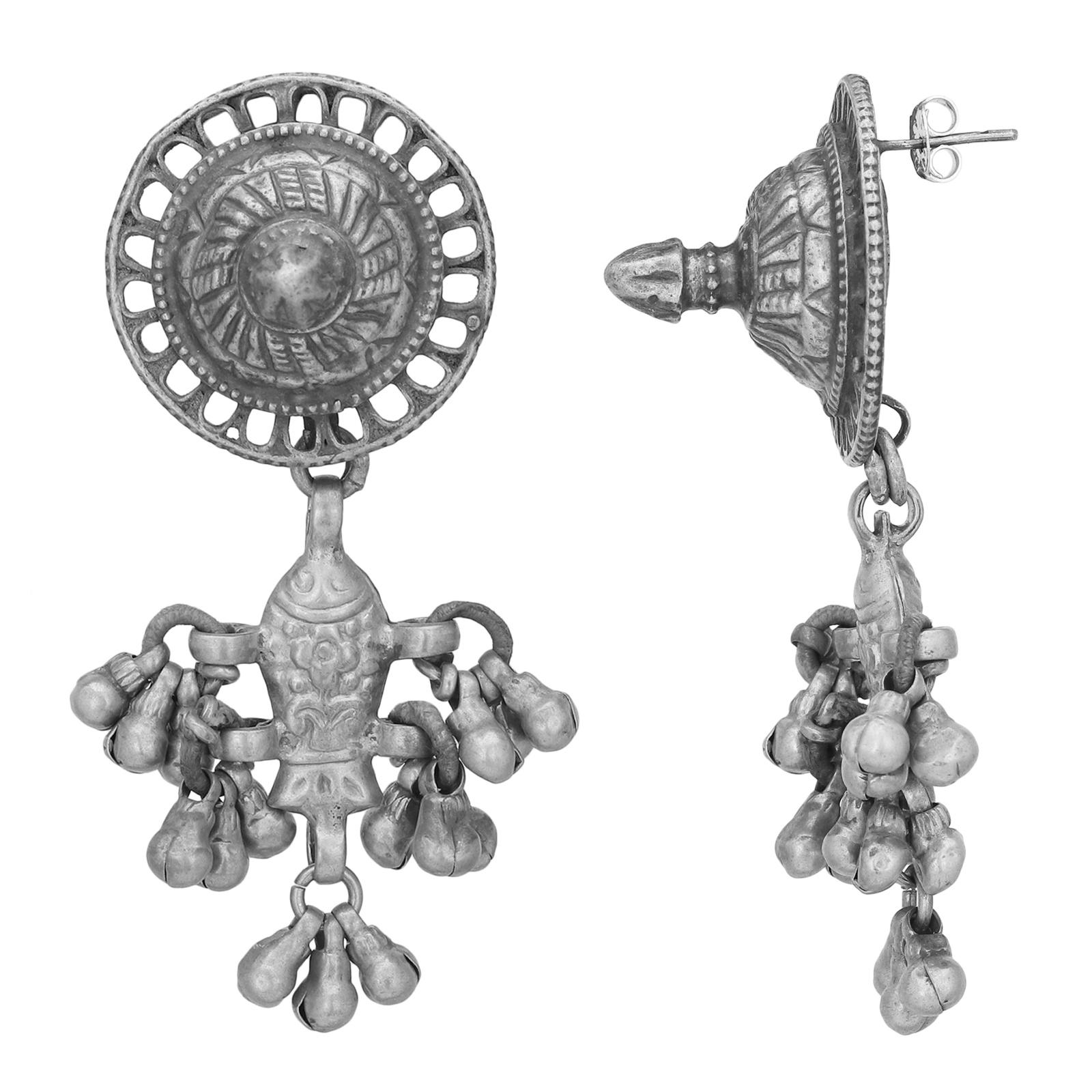 Tribal Silver Matsya Earrings