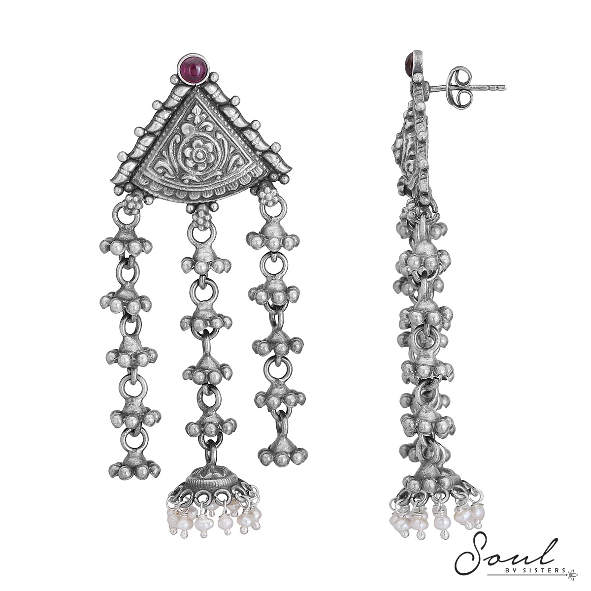 Trikon Temple Studs with Hangings