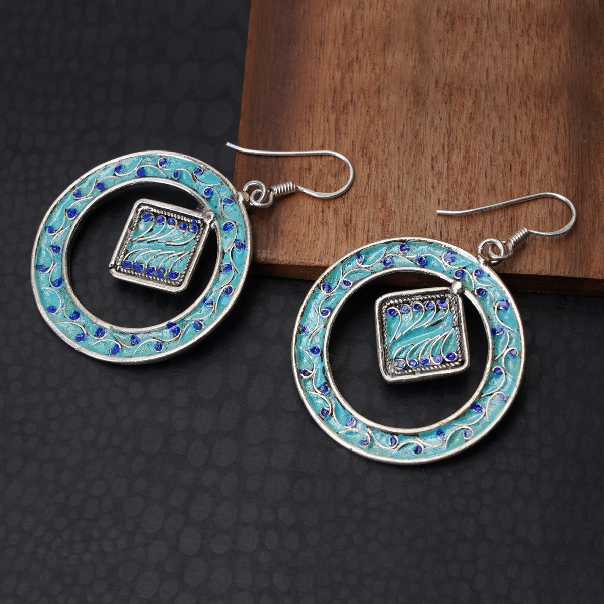 Turquoise & Blue Enameled Silver Hoops