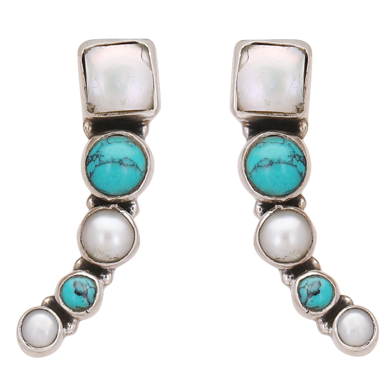 Turquoise & Pearl Sterling Silver Drop & Danglers