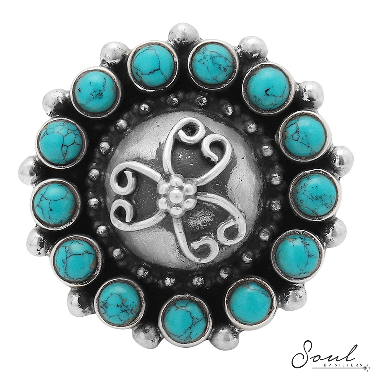Turquoise Silver Adjustable Ring