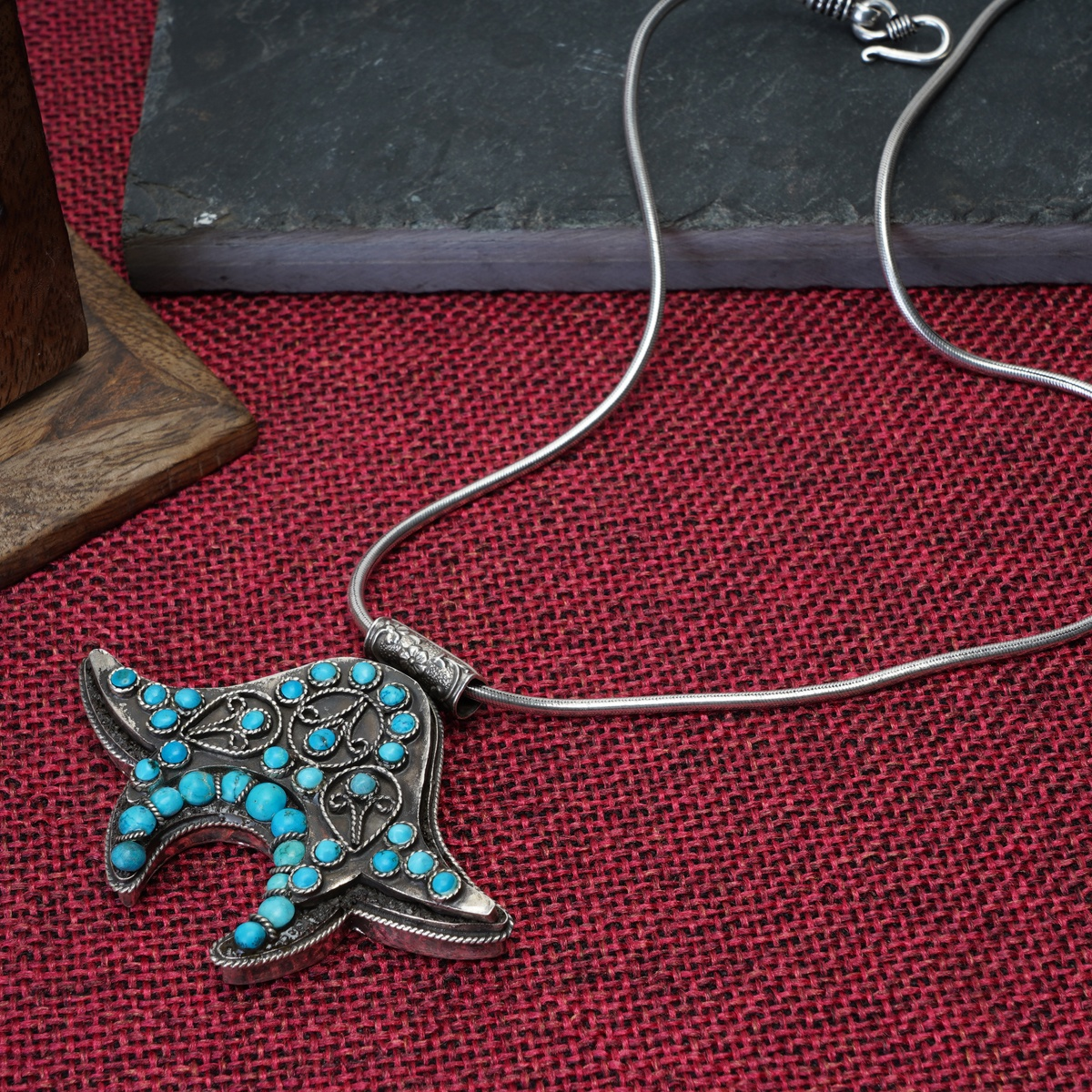 Two Side Turquoise Silver Pendant