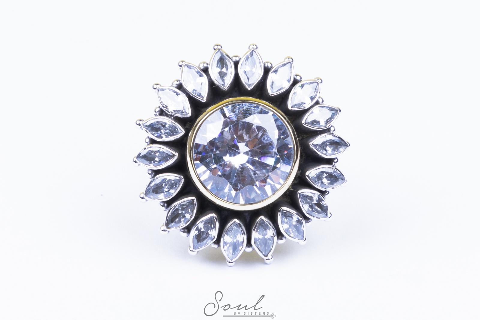 Zircon Flower Ring