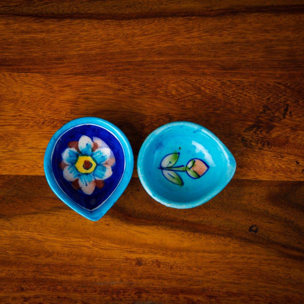 Blue Pottery Diya